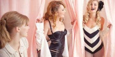 girls trying lingerie