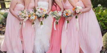 bridal party, bridesmaids, bride, bride and bridesmaids, bridesmaids dresses, pink bridesmaid dresses