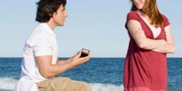 man proposing to a reluctant woman