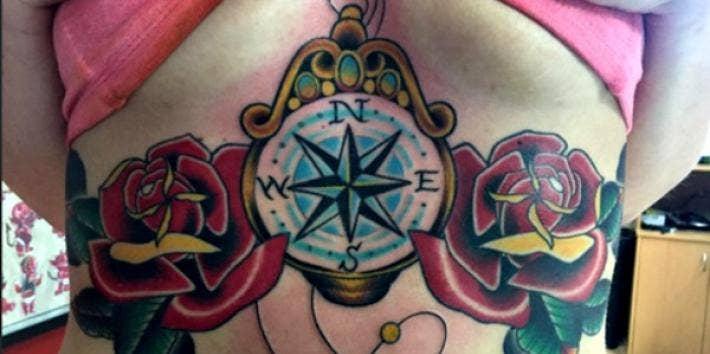 Beautiful underboob tattoo.