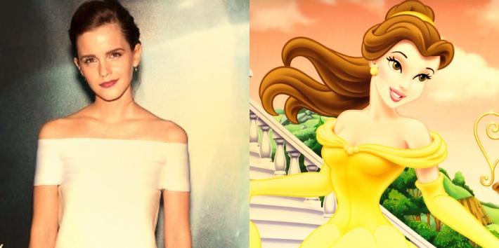 """Emma Watson at the premiere of """"Gravity"""" and Disney princess Belle of Beauty and the Beast"""