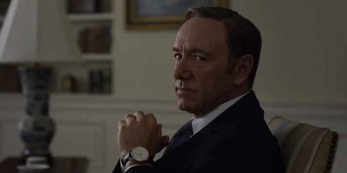 Kevin Spacey, who may be gay and is outed in Andy Cohen's new book, as Frank Underwood 'House Of Cards'
