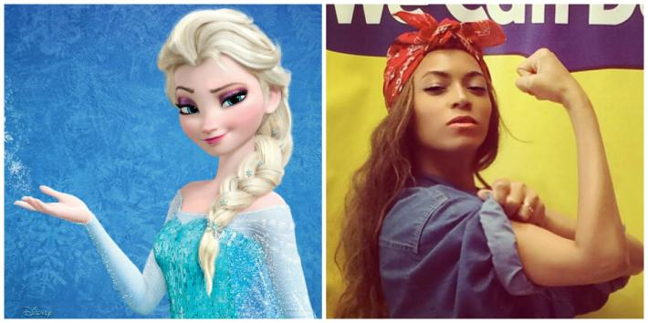 """Frozen"" Queen Elsa of Arendelle and Beyonce dressed as Rosie the Riveter on Instagram"