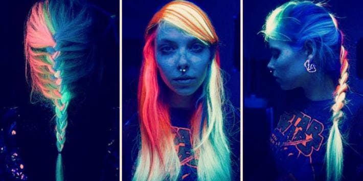 Glow-In-The-Dark Rainbow Hair