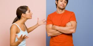A husband and wife fight.