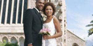 black couple bride groom wedding day