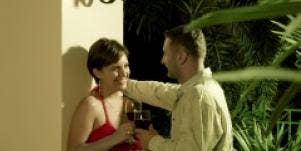 Couple flirting outside