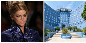Kirstie Alley on the runway and Scientology building