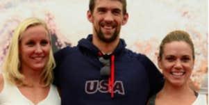 Michael Phelps and swim team girls