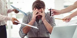 anxious man at work