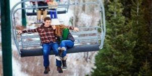 couple on ski lift