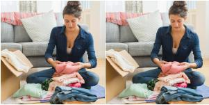 woman arranging clothes