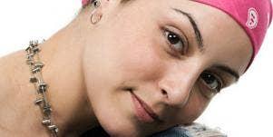 Pink cancer bandana woman
