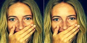 woman in shock from cheating boyfriend