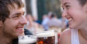 beer toast male female friends