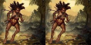 illustration of churel, a female demon who hunts bad husbands
