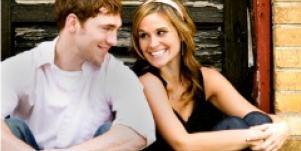 college couple smiling