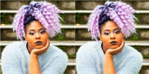 plus size woman with purple hair