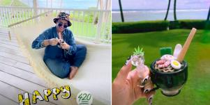 Demi Lovato celebrating 4/20 on her Instagram Stories