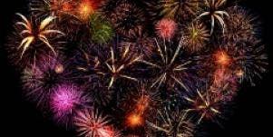 Fireworks heart love