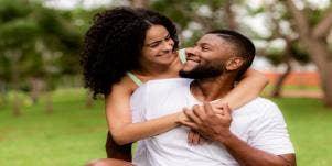 Gemini woman with boyfriend in park