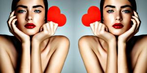 submissive woman holding a heart