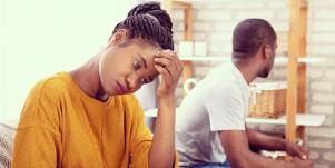 couple controlling their emotions in a relationship conflict