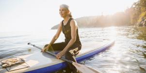 older woman on a boat