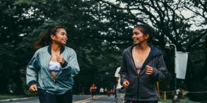 two sisters jogging together