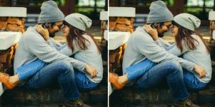 hipster man and woman sitting with legs on each other