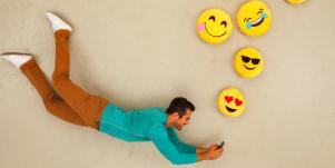 guy writing I love you in emojis