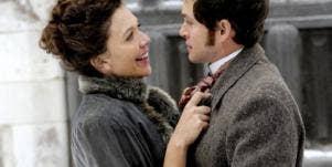"Maggie Gyllenhaal and Hugh Dancy in ""Hysteria."""