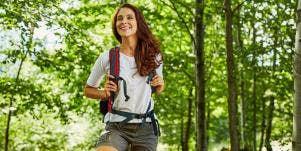happy woman hiking