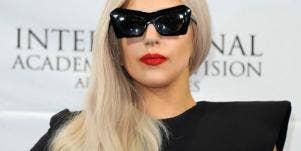 Lady Gaga wearing black sunglasses