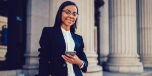 business woman holding a smartphone