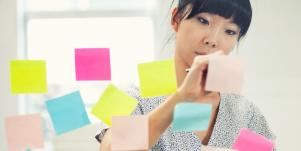 woman with post-it notes