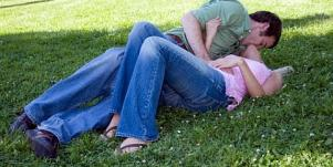 couple making out in a park