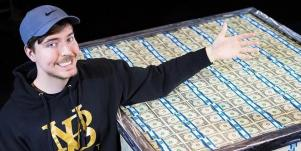 MrBeast posing with money for a video giveaway