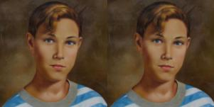 colorized school photo, doubled image, of Jeremey Delle from Pearl Jam song