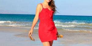 red dress beach