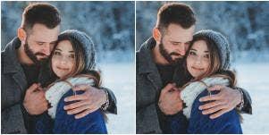 happy couple in the snow