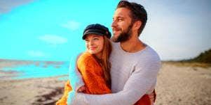 smiling couple hugging