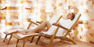 woman in salt spa