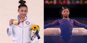 Suni Lee and Simone Biles at the Tokyo Olympics