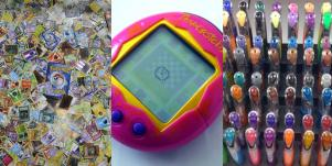 Pokemon cards, tamagatchi and gel pens