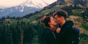 tourist couple kissing