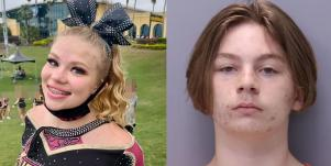 Tristyn Bailey at a cheer competition and Aiden Fucci after being arrested