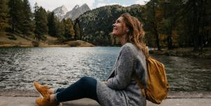 woman using nature to soothe anxiety and stress