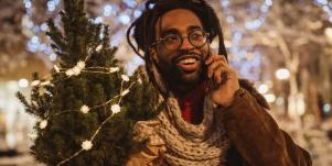 man celebrating christmas
