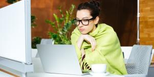 woman working in blanket